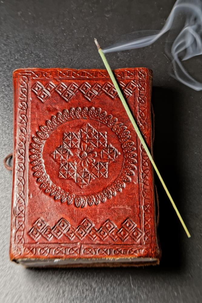 hindu book cover and agarbatti right